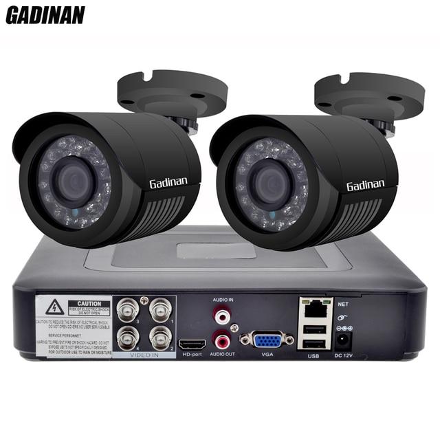 GADINAN Sistema de CCTV de Seguridad DVR, 4 canales, AHD, con 2 Uds., cámara CCTV opcional de 2MP y 1080P, Kit de cámara impermeable de videovigilancia