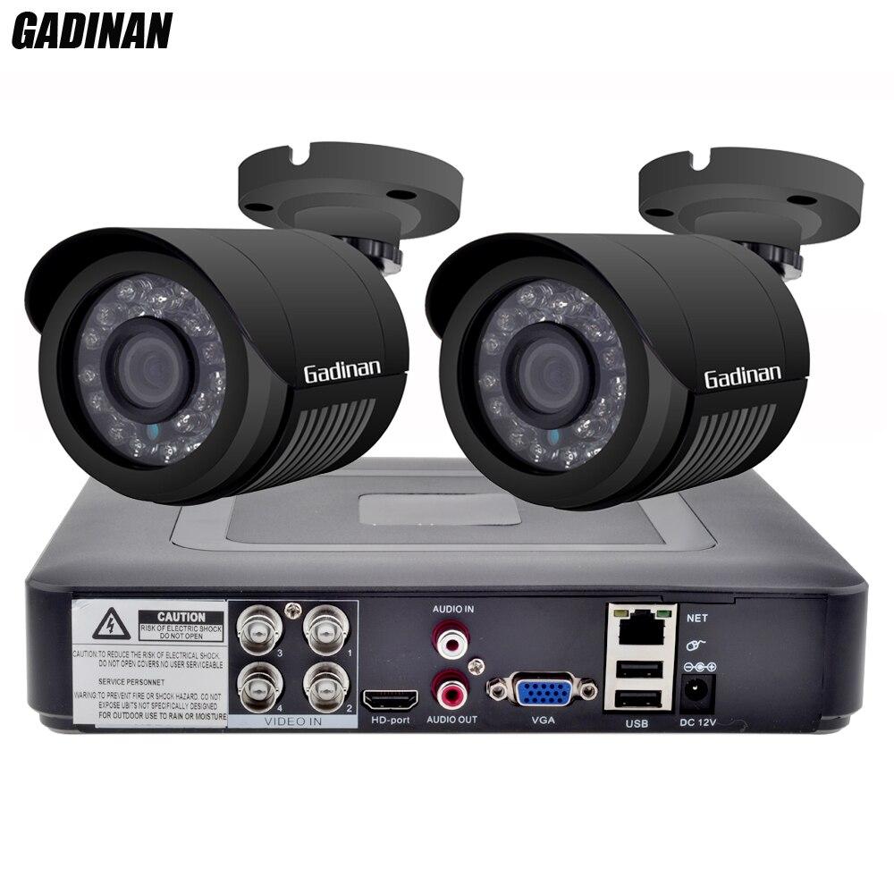 GADINAN 4CH AHD DVR Système de Sécurité CCTV avec 2 PCS 2MP 1080 P En Option CCTV Caméra Étanche Caméra Vidéo de Surveillance Kit