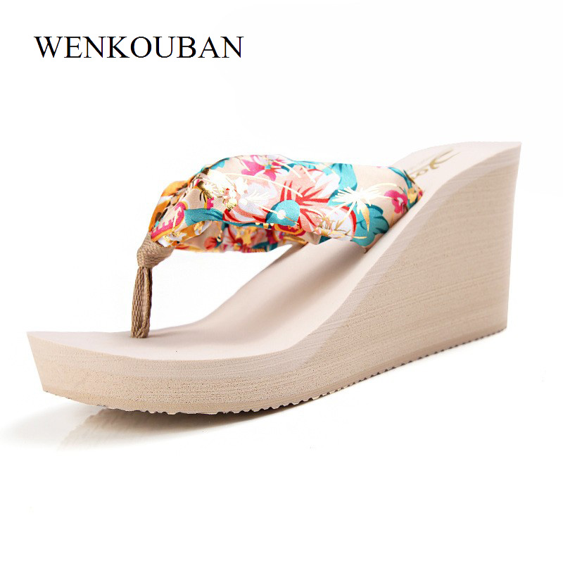 Platform Slippers Women Wedge Flip Flops Slippers Summer Casual Beach Slides Ladies High Heels Shoes Leopard Mules Zapatos Mujer halluci breathable sweet cotton candy color home slippers women shoes princess pink slides flip flops mules bedroom slippers