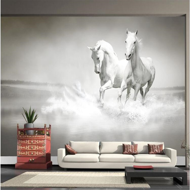 Sofa 2 Meter Photo Wallpaper Horse White Horse Large Mural Continental