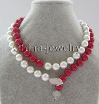 "P6828 - 35"" 12mm white + red round south sea shell pearl necklace- 925 silver"