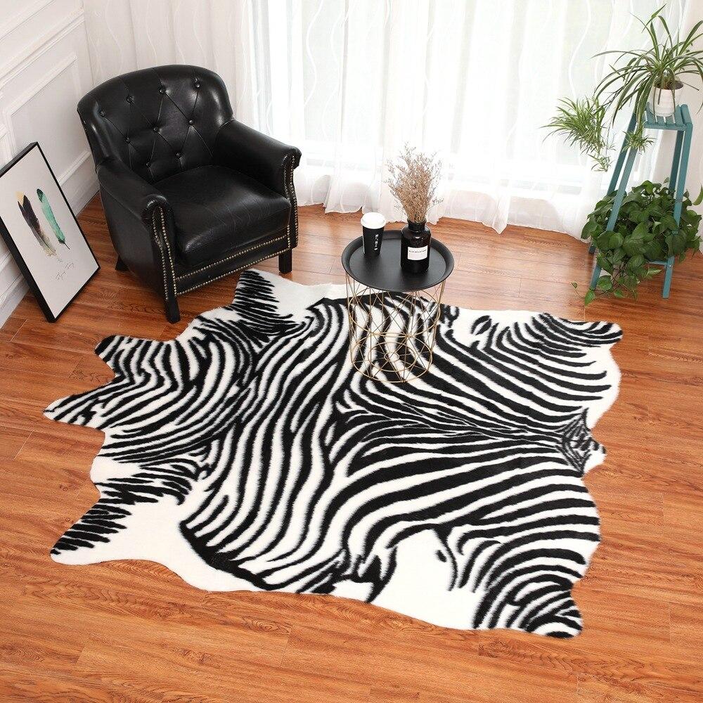 Zèbre rayure tapis Simulation noir blanc en peluche tapis simulé peau d'animal tapis noël nouvel an salon décoration