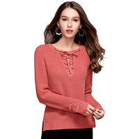 Women Deep V Neck Autumn Winter Knitted Sweater Female Long Sleeve Sweaters And Pullovers Coat Womens