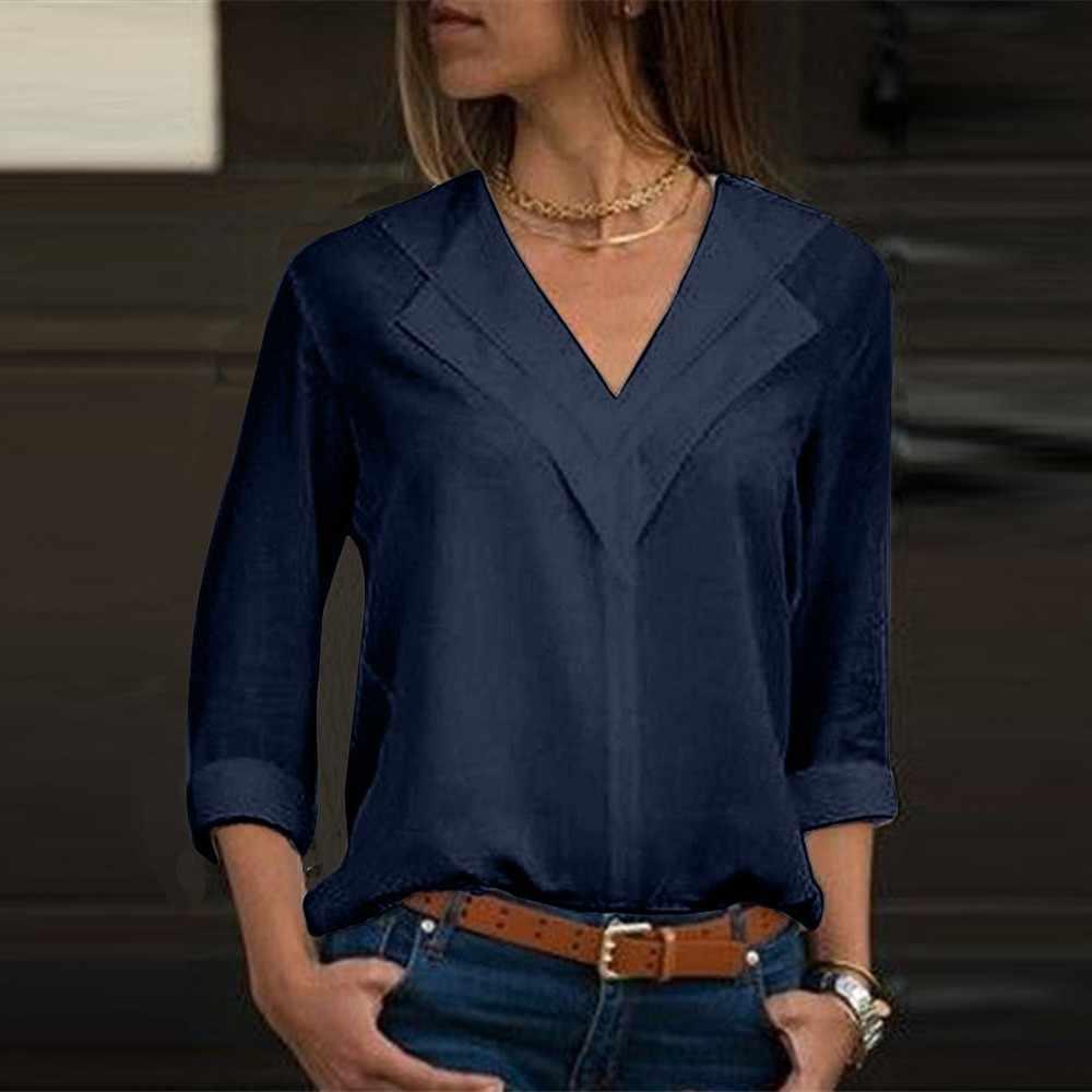 白長袖シフォンダブル V ネックの女性トップスと固体オフィスシャツ女性シャツ Blusas DG0707