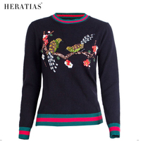 New Fashion Autumn 3D Flower Embroidery Birds Shirts Long Sleeve O Neck Sweater Pullover Ladies Casual