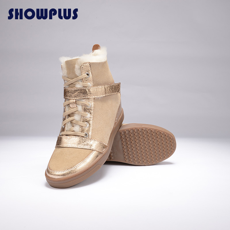 2016 ShowPlus fashion  hook&loop sheepskin   lace-up  ankle wedges casual  thermal-slip-resistant  women   snow booots shoes