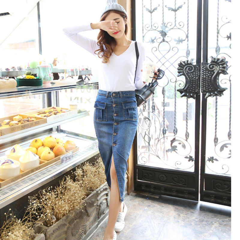 Online Buy Wholesale jean button midi skirt from China jean button ...