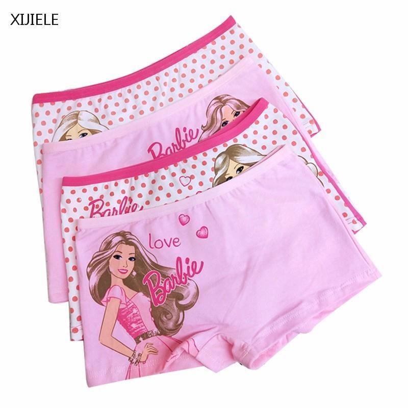 XIJIELE 1-4Piece doll printing Cotton Boxer Briefs Girls Underwear princess Children Kids Baby Panties трусы psd underwear men s kd boxer briefs grey