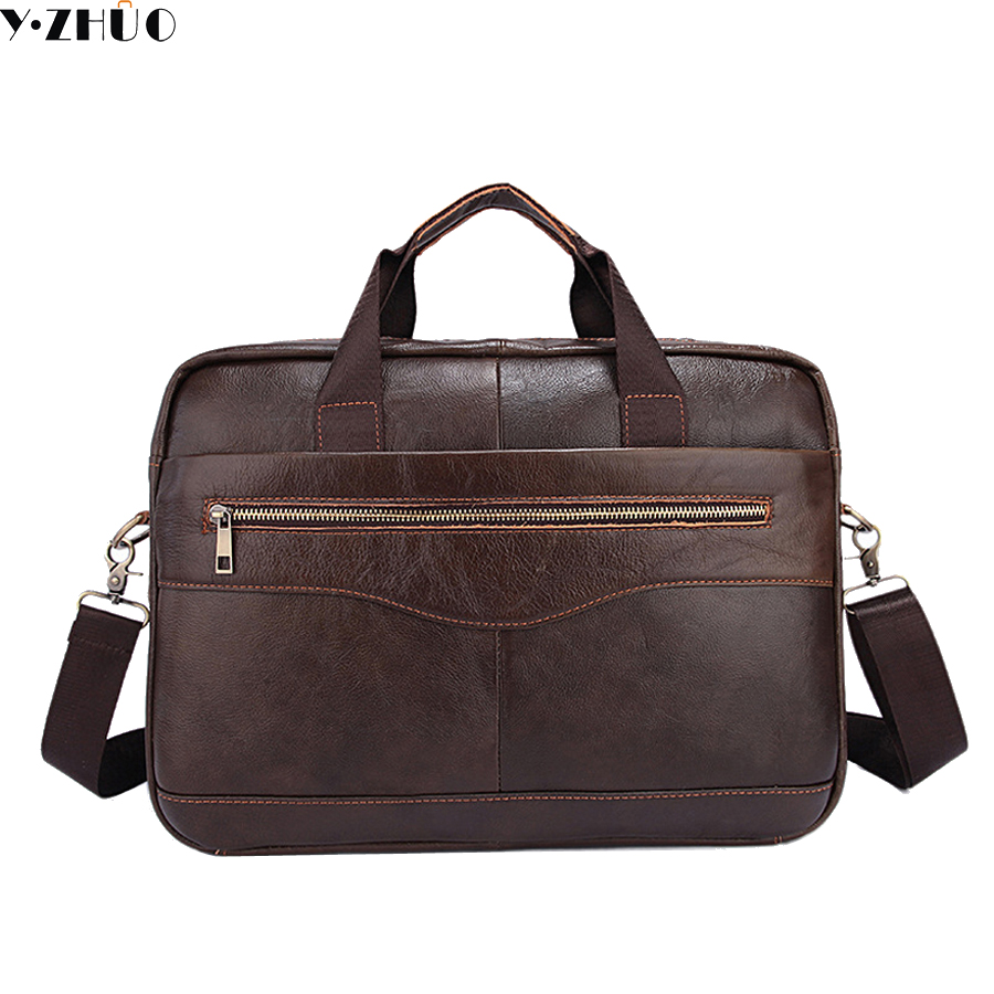 "Genuine Leather Men Briefcase 14"" Laptop Business Bag ..."