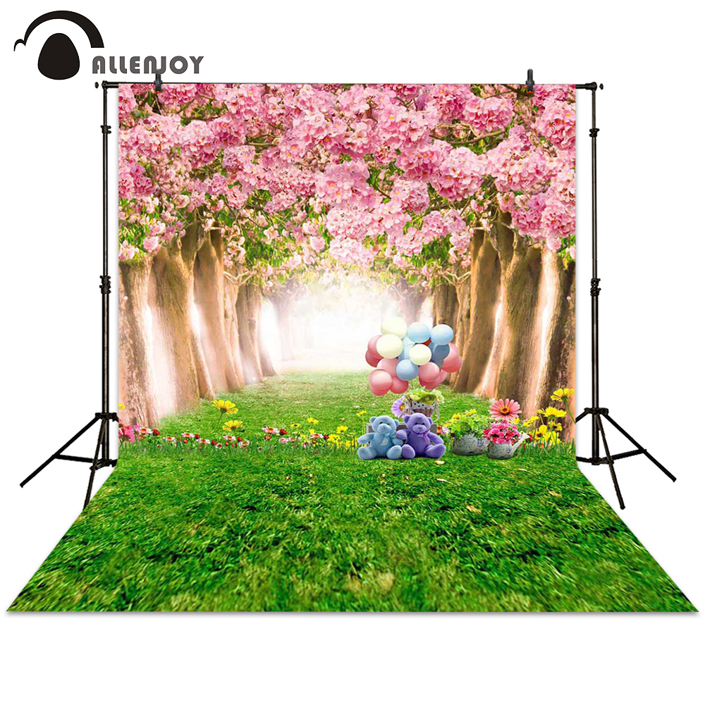 Allenjoy background photography spring cartoon forest toy balloon flower tree backdrops photocall photographic photo studio vinyl floral flower newborn backdrops cartoon unicorn photography background studio photo props 5x3ft