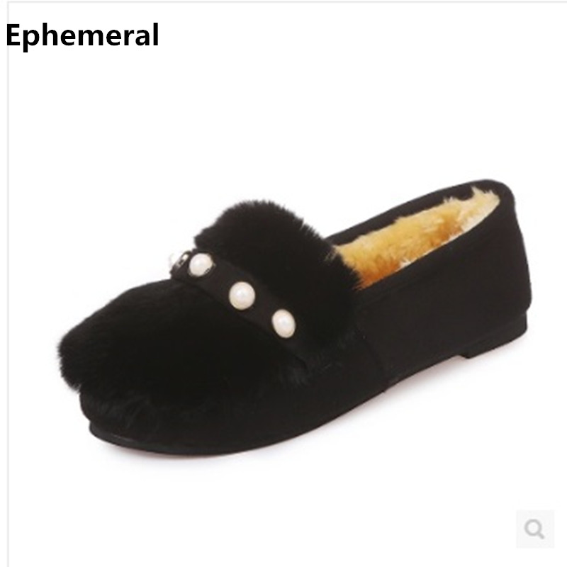 Ladies Winter Shoes With Fur Inside Round Toe Flats Plush Fabric Women Warm Slip-ons Plus Size 44 34 43 Green Brown Black Women hot sale 2016 new fashion spring women flats black shoes ladies pointed toe slip on flat women s shoes size 33 43