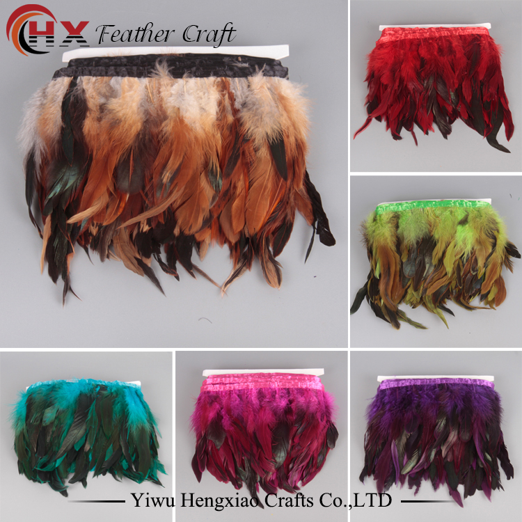 Retail and Wholesale 1yard Bra kvalitet Färgad Chinchilla Rooster Feathers Trim