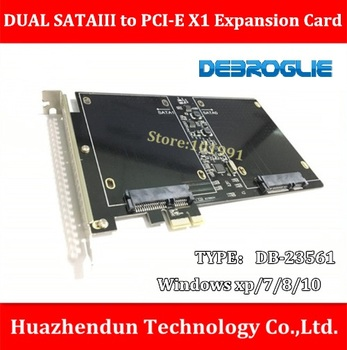 DEBROGLIE  DB-23561  DUAL SSD SATAIII to PCI-E X1 Expansion Card  for PC/Server with M3 Screw-8pcs  Support  Windows xp/7/8/10