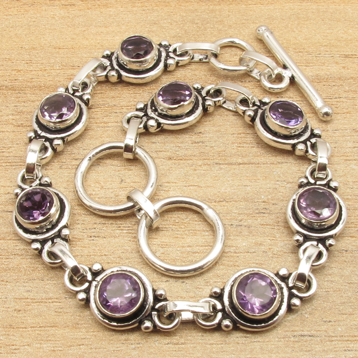 Natural AMETHYSTS Gems Delicate Jewellery Bracelet 7 1/2 ! Silver Plated