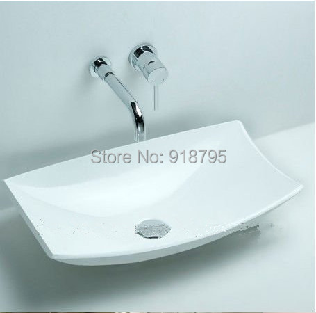 Rectangular Bathroom Solid Surface Stone Counter Top Vessel Sink  Fashionable Corian Washbasin RS3828 557
