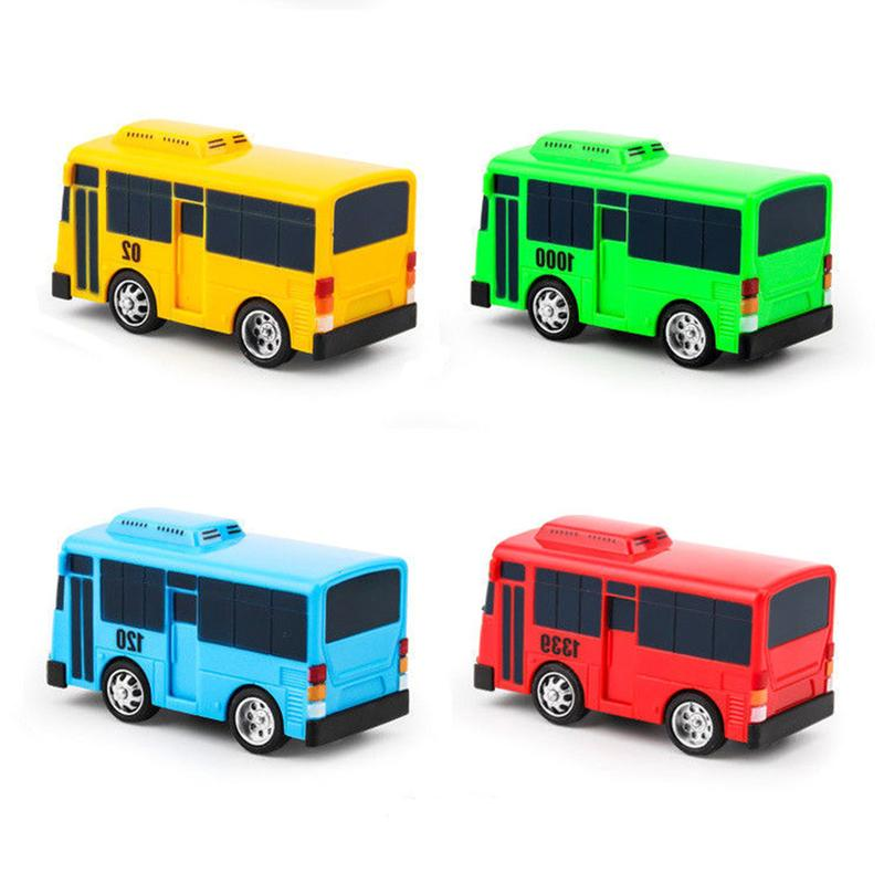 4pcs/pack Cartoon Mini TAYO Bus Taxi Back Children Educational Toys Little Bus Korean Anime Model Buses For Kids Christmas Gifts