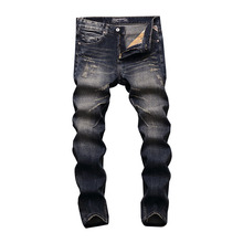 2019 New Fashion Men Jeans Slim Fit Cotton Denim Casual Pants Vintage Designer Ripped Jeans Brand Classical Jeans Men