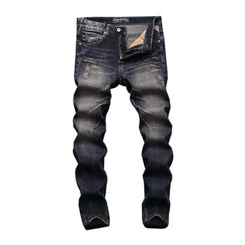 2019 New Fashion Men Jeans Slim Fit Cotton Denim Casual Pants Vintage Designer Ripped Brand Classical