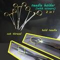 Instrumento médico mango de oro auto-retención 2en1 de alta calidad tijeras portaagujas y cortador de alambre