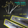 Medical instrument gold handle self-retaining needle holder &wire cutter 2in1 high quality scissors