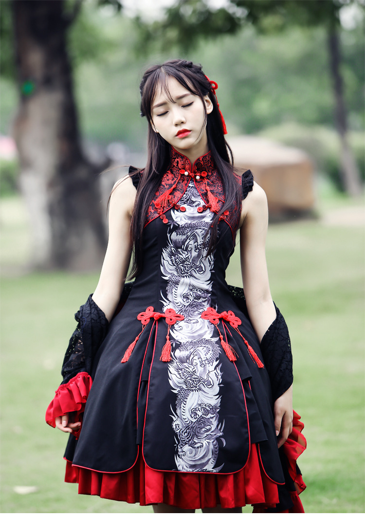 Chinese Culture Classical Style Dragon Tiger Printing Costume Layered font b Women b font Dresses font