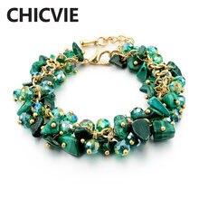 Женский шарм браслет chicvie зеленый с кристаллами из фианита