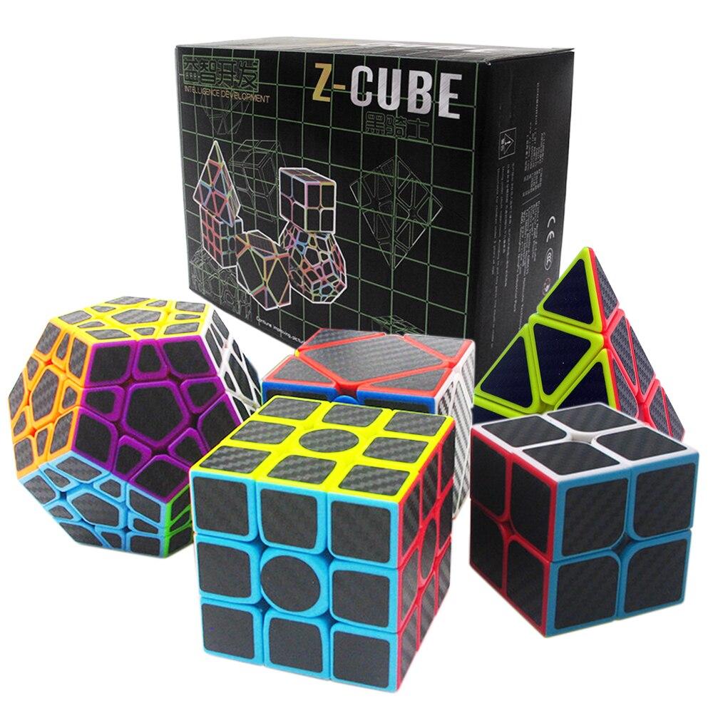 Cadeau d'anniversaire 5 pièces/ensemble 2x2x2 3x3x3 Speed Skew Cube Megaminx Cube magique professionnel pour garçon Cubes de ZCUBE 2*2 3*3 sur 3