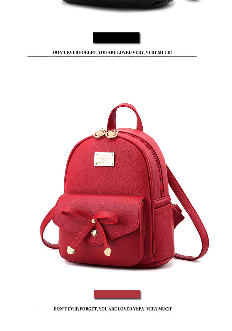 Youth Cute Mini Shoulder Bag Red Bow School Bags For Teenage Girls PU  Leather Back Pack Children Backpacks Women Pretty Backpack 1de0a2c695941