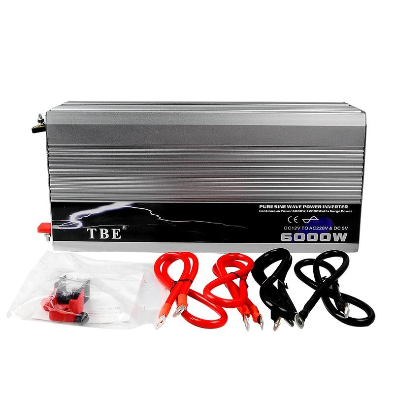 6000 Вт Авто Чистая синусоида Мощность инвертор 12 В 220 В преобразователь чистого синуса инвертор солнечного ветра Мощность 12 В, 24 В