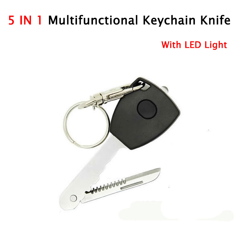 5 In 1 EDC Key Shape Led Keychain Lights With Kinfe Camping Equipment Outdoor Survival Kit Self Defense Tool For Women Wholesale