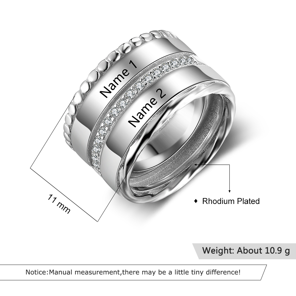 Buy For Less Clear Cubic Zirconia Dragon Ball Design Ring Rhodium Plated Sterling Silver