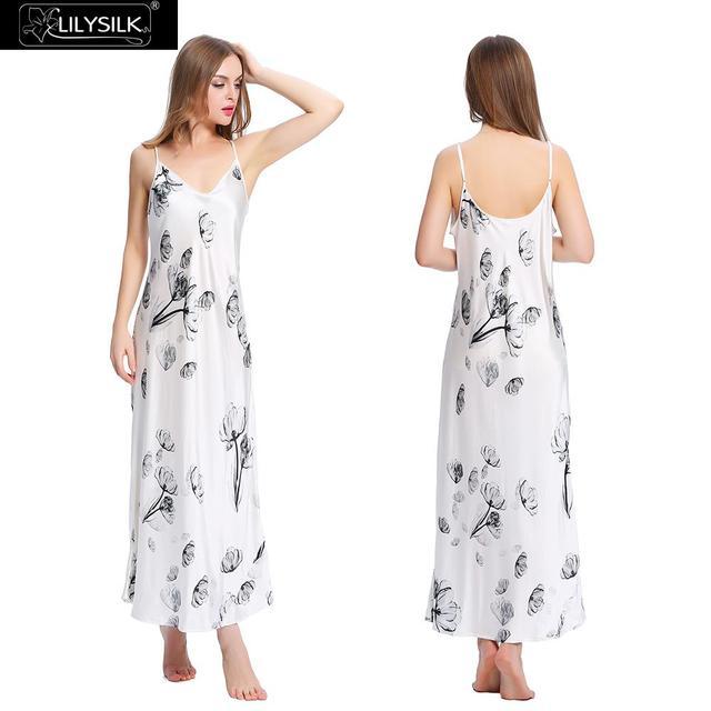 Lilysilk Seda Nighgown Longo Floral Sexy Lingerie Camisola Pijamas Homewear para Mulheres Sleepwear Marca Lotus Feminino Cuidados Com A Pele