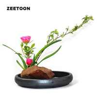 Coarse Pottery Container Flat Bowl Foods Plate Planters Kenzan Ikebana Vase Vintage Home Decor Tabletop Hydroponic Pot Flowerpot