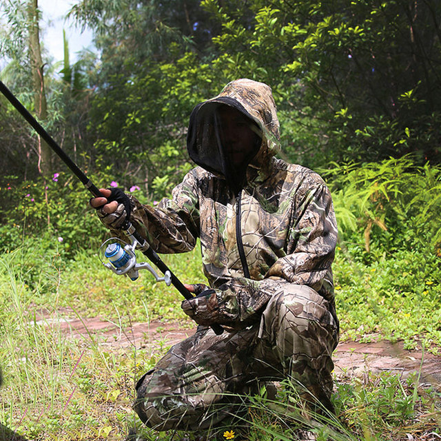 Bionic Camouflage Clothes Tactical Sniper Ghillie Suits Cotton Camo Hunting Clothing Anti-Mosquito Spring Autumn Fishing 3