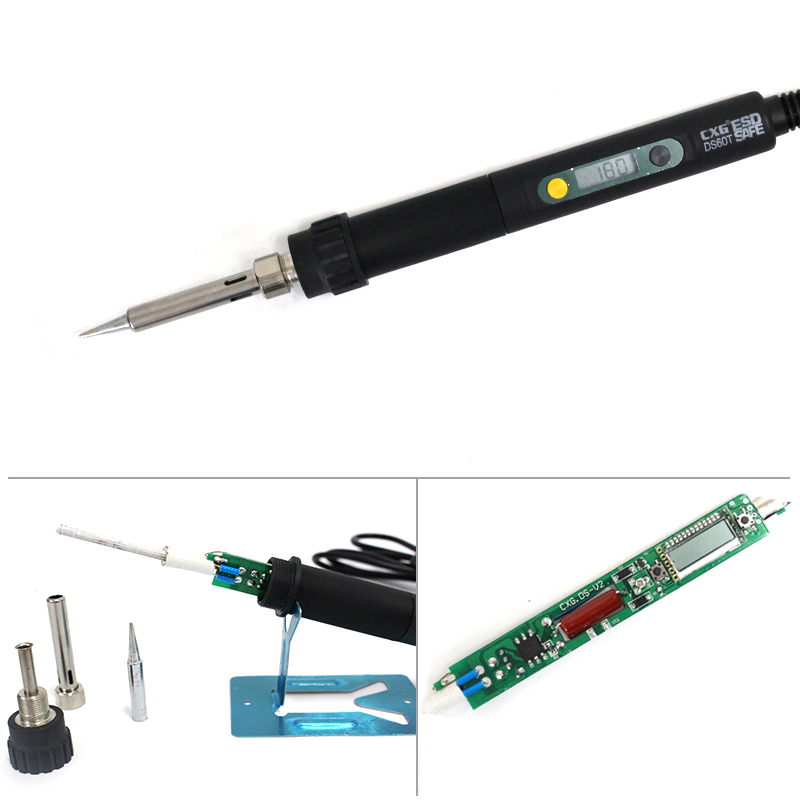 Hight quality 220V 60W CXG DS60T electric Soldering Iron welding+5pcs iron tip tools free shipping