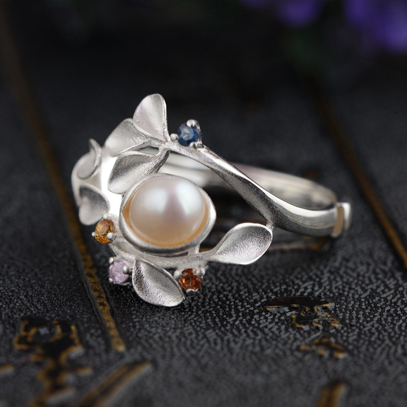 FNJ 5mm Freshwater Pearl Ring 925 Sterling Silver Open Size anillos Male zircon S925 Thai Silver Rings for Women Jewelry jyx 9 5mm pink genuine freshwater pearl ring shiny crystal in 925 sterling silver jewerly