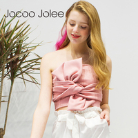 Jocoo Jolee Women S Sexy Tops Suede Bow Strapless Top Casual Spring Zipper Camisole Tank Elegant