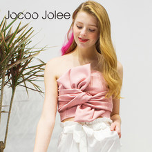 Jocoo Jolee Women s Sexy Tops Suede Bow Strapless Top Casual Spring Zipper Camisole  Tank Elegant Evening Party Club Crop Top2018 cfce63344ac5