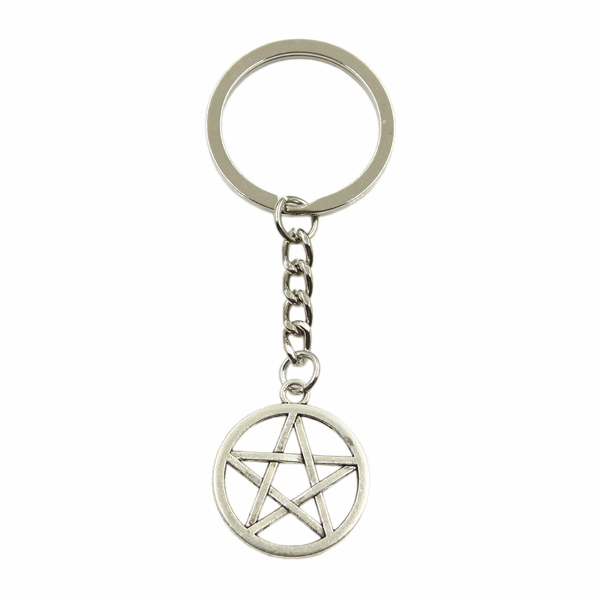Factory Price Star Pentagram Pendant Key Ring Metal Chain Silver Color Men Car Gift Souvenirs Keychain Dropshipping