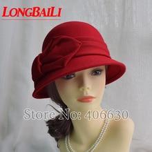 2014 winter new wool felt bucket hats for women, ladies church hat, women cloche hat, free shipping chic letters pattern strap embellished felt bucket hat for women