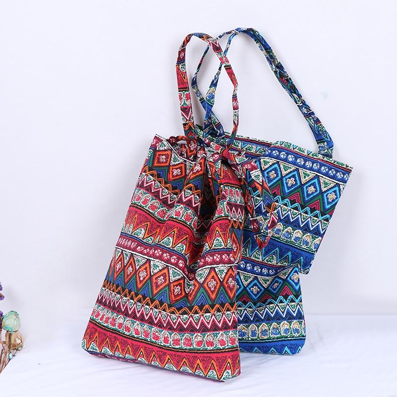 1PCS Reusable Shopping Bag Eco Women Handbag Foldable Beach Bag Daily Use Shoulder Bag Flower Print Casual Canvas Tote Satchel