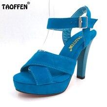 Taoffen/размеры 34–45 женские высокий каблук сандалии на платформе модное платье пикантная женская обувь туфли-лодочки на каблуке высокого качества P4741 Лидер продаж