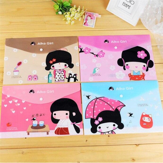 24pcs/lot New Kawai Japanese Girl Style File Folder Documents Bag Stationery Filing Production A4 Document Filling Bag Wholesale