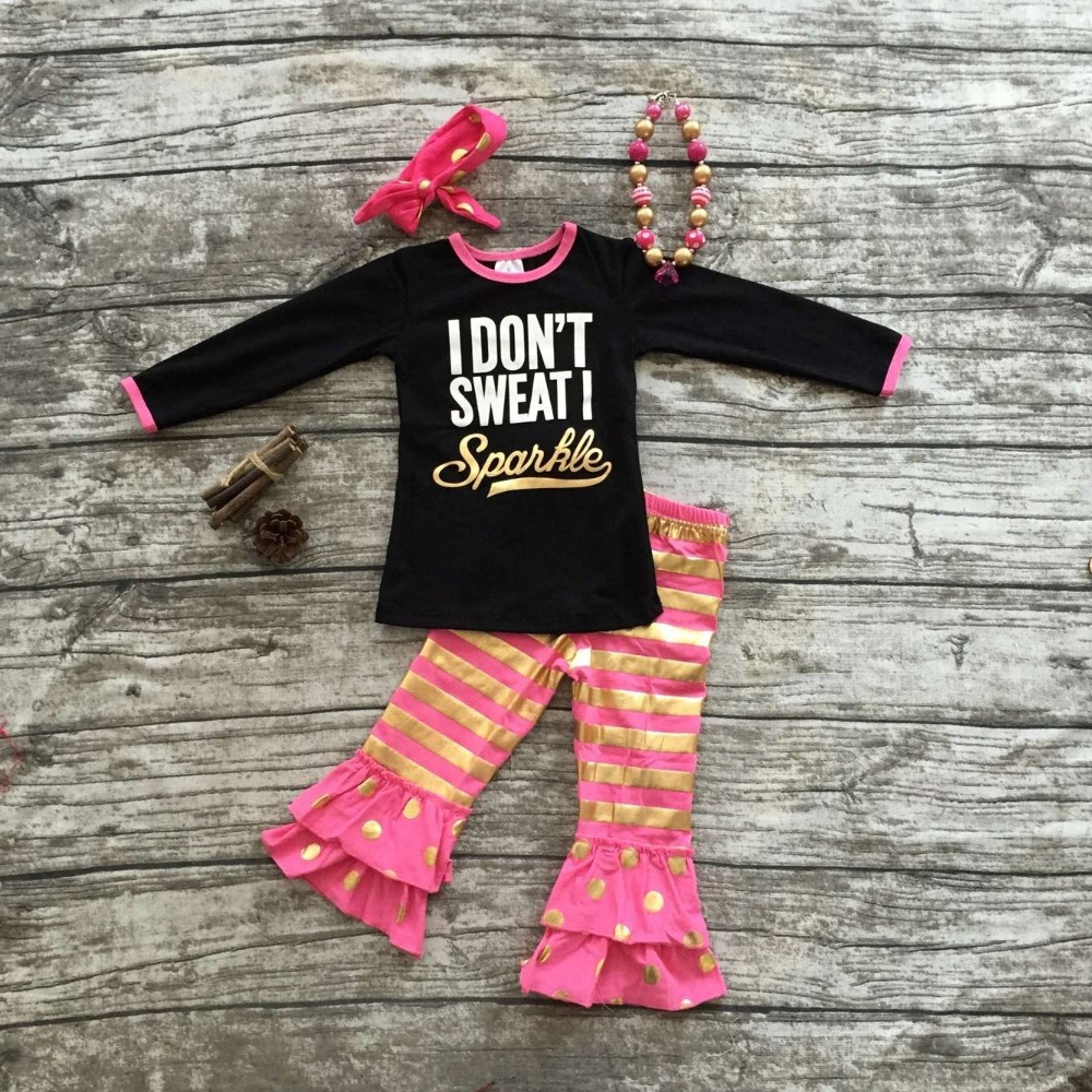 2016 new baby girls outfit i don 39 t sweat i sparkle black for T shirts that don t show sweat