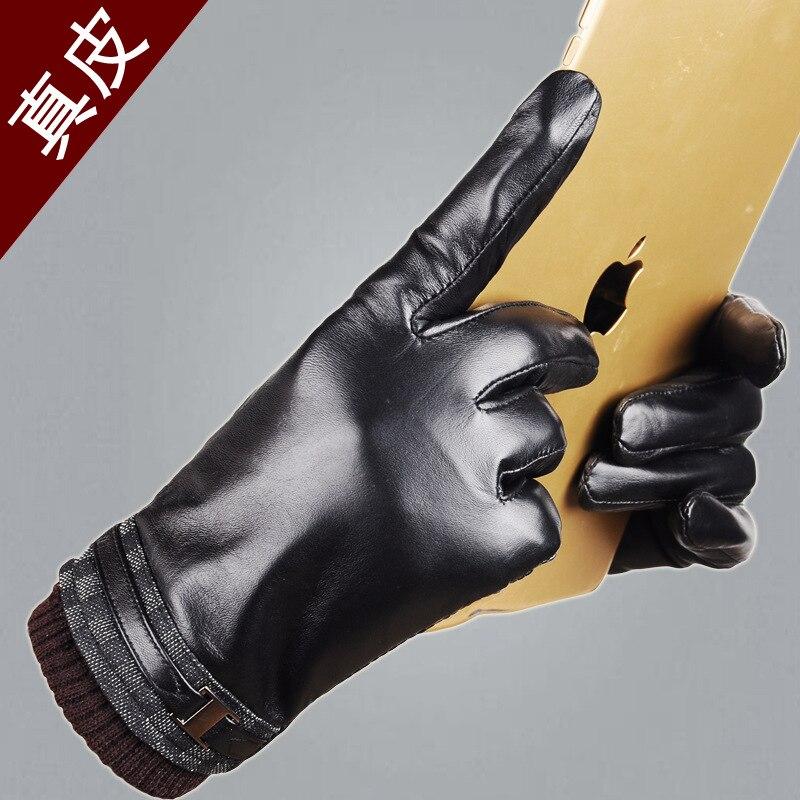 ФОТО Men's leather gloves touchscreen Korean fashion autumn and winter plus velvet warm sheepskin car