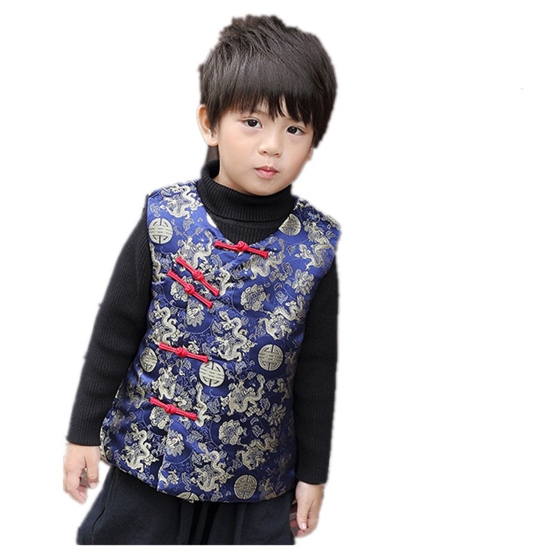 Winter Children Waistcoat 2019 Chinese New Year Baby Boy Vest Jacket Kids  Tang Clothes Boys Coat Cheongsam Outfit Sleeveless Top-in Vests    Waistcoats from ... 936e96a41265