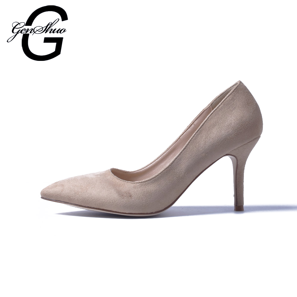 GENSHUO 2018 New Fashion high heels 8 CM Sexy Women's High Heels Faux Suede Shoes Women Pumps Pointed Toe Thin Heel Nude Black fletite top quality elegant embroidery 8 color women pumps pointed toe thin high heels 2018 new fashion luxury women shoes brand