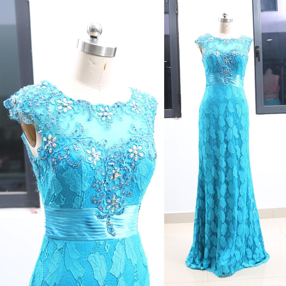 Aqua Sheath O Neck Floor-Length Crystal Lace Prom Party Formal Evening Dress S 264358