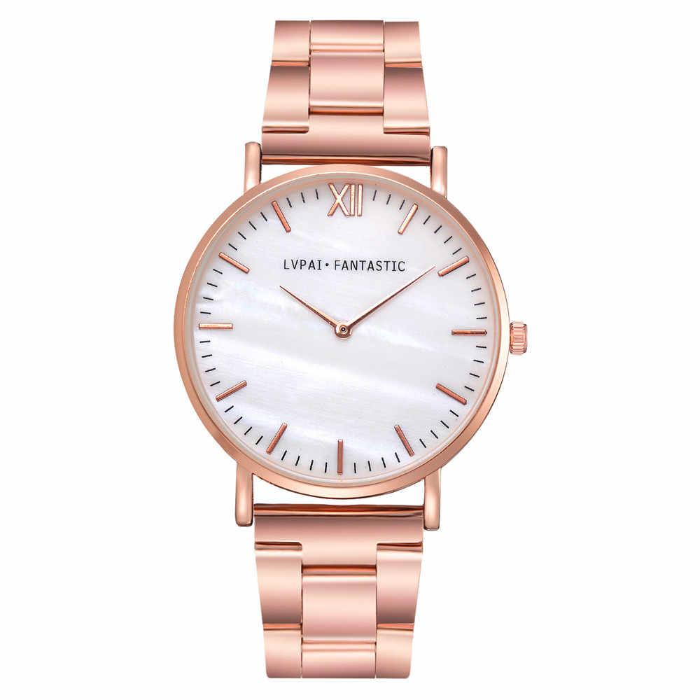 LVPAI אופנה יוקרה נשים של שעון ילדה אנלוגי קוורץ שעון שמלה נשי שעון נירוסטה רצועת רוז זהב כסף שעון fi