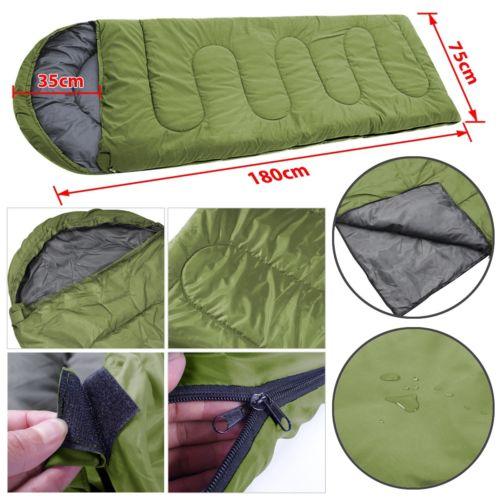Army Green 3 Season Ultralight Sleeping Bag Outdoor Camping Sport Envelope Type Waterproof Single